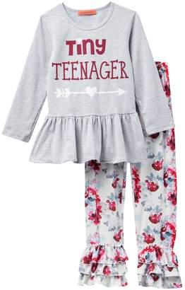 Funkyberry Ruffled Tiny Teenager Leggings Set (Toddler & Little Girls)