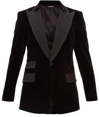 Dolce & Gabbana Single Breasted Jacquard Lapel Velvet Jacket - Mens - Black