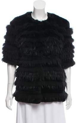 Oscar de la Renta Collarless Fur Jacket