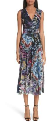 Fuzzi Floral Patchwork Print Tulle Dress