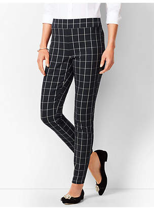 Talbots Bi-Stretch Pull-On Ankle Pants - Windowpane Plaid