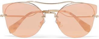 Cat-eye Silver-tone Mirrored Sunglasses - Pink