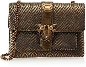 Pinko Big Love Bronze Python Tracolla Pelle St.pitone, Women's Shoulder Bag,2.5x21x29 cm (W x H L)