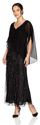 J Kara Women's Petite Beaded Bottom Dress with Sheer Top