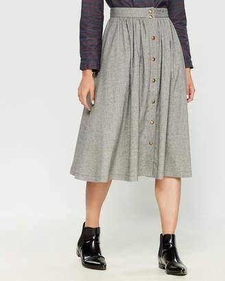 Le Mont St Michel Tweed Snap Front Maxi Skirt
