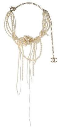 Chanel Faux Pearl Knot Necklace