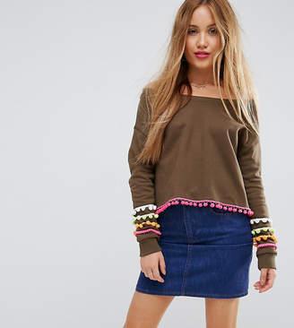 Asos Off Shoulder Cropped Pom Pom Sweatshirt