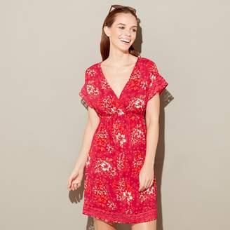at Debenhams · Mantaray - Red Floral Print And V-Neck Short Sleeve Mini  Kaftan dd4b37317