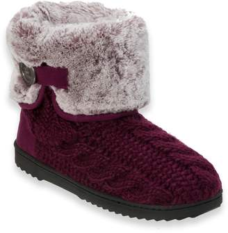 Dearfoams Women's Cable Knit Boot with Plush Cuff