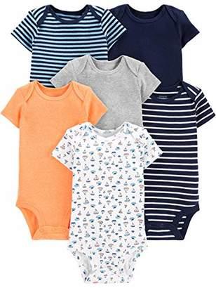 Carter's Simple Joys by Boys' 6-Pack Short-Sleeve Bodysuit