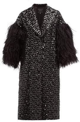 Andrew Gn Feather Trim Sequinned Cotton Blend Opera Coat - Womens - Black