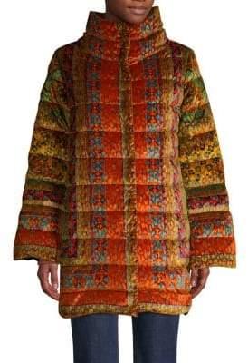 Etro Dream Catcher Velvet Quilted Puffer Coat