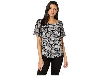 Lucky Brand Printed Woven Mix Top