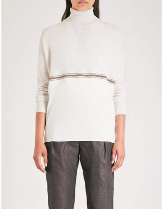 Brunello Cucinelli Bead-embellished cashmere turtleneck jumper