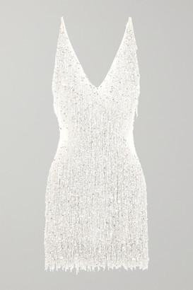 Naeem Khan Gatsby Embellished Chiffon Mini Dress - White