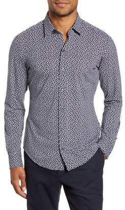 BOSS Robbie Sharp Fit Floral Button-Up Stretch Nylon Shirt