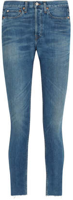 RE/DONE Originals High-rise Ankle Crop Frayed Skinny Jeans - Blue