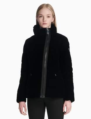 Calvin Klein velvet asymmetric zip puffer jacket