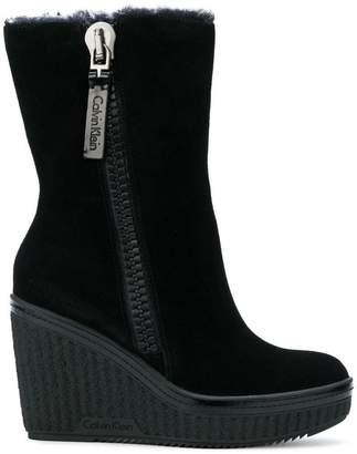 Calvin Klein Jeans wedge zip boots