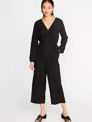 098408ac838 Old Navy Linen-Blend Wrap-Front Jumpsuit for Women