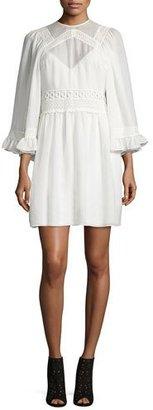 McQ Alexander McQueen 3/-Sleeve Gauze-Knit Mini Dress, Ivory $595 thestylecure.com