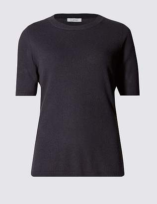 Marks and Spencer Ribbed Round Neck Short Sleeve Jumper