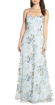 Jenny Yoo Drew Floral Embroidered Tulle Evening Dress