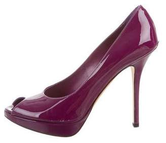 Christian Dior Peep-Toe Patent Leather Pumps