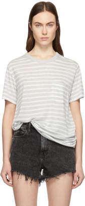 Alexander Wang Grey and White Slub Jersey Pocket T-Shirt