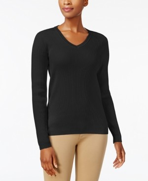 Karen Scott Petite Ribbed-Knit Cotton Sweater, Created for Macy's