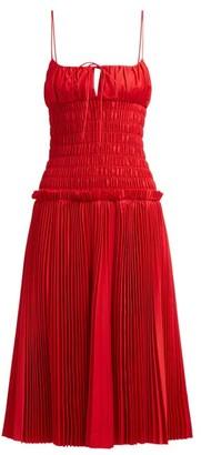 KHAITE Delphine Smocked Bodice Cotton Dress - Womens - Red