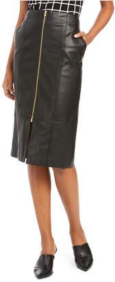 Calvin Klein Zipper Faux-Leather Pencil Skirt