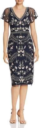 Adrianna Papell Beaded Cape-Sleeve Sheath Dress