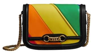 Burberry Rainbow Stripe Link Flap Leather Crossbody Bag