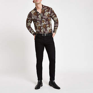 River Island Red floral print long sleeve shirt