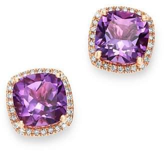 Bloomingdale's Amethyst & Diamond Stud Earrings in 14K Rose Gold - 100% Exclusive