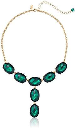 1928 Jewelry Jeweltones Gold-Tone Green Oval Faceted Drop Y-Shaped Necklace