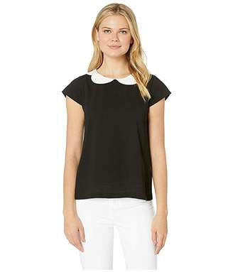 CeCe Short Sleeve Double Collar Blouse