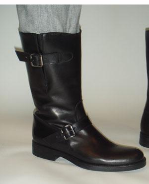 POLLINI black mid-calf leather boot