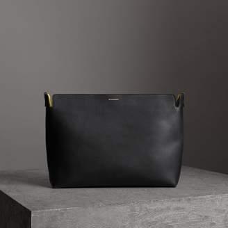 Burberry Large Tri-tone Leather Clutch, Black