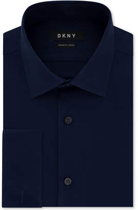 DKNY Men Slim-Fit Performance Stretch Wrinkle-Resistant Black French Cuff Dress Shirt