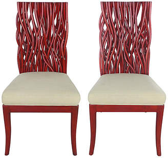 One Kings Lane Vintage Red Bent Rattan & Mahogany Chairs - Set of 2