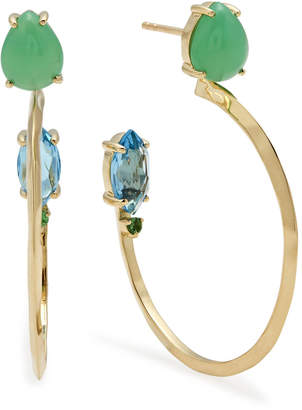 Ippolita 18k Prisma Three-Stone Hoop Earrings in Portofino