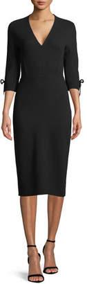 Lela Rose V-Neck 3/4-Sleeve Fitted Sheath Dress