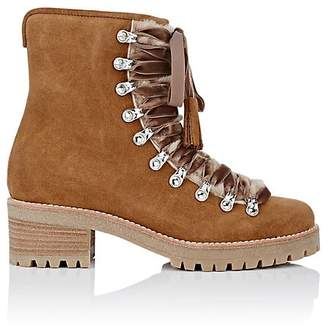 Barneys New York Women's Suede & Shearling Lace-Up Ankle Boots