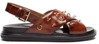 Marni Fussbett Patent Leather Slingback Sandals - Womens - Dark Brown