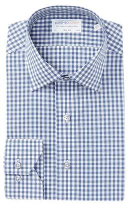 Lorenzo Uomo Dobby Gingham Trim Fit Dress Shirt