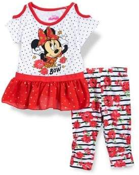 Disney Minnie Mouse Little Girl's Two-Piece Minnie Mouse Embellished Top and Printed Leggings Set