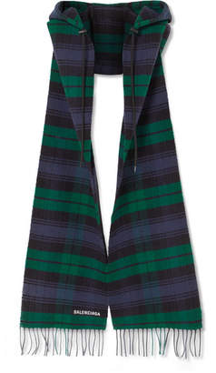 Balenciaga Hooded Fringed Tartan Wool Scarf - Navy