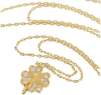 Star Jewelry 18K Yellow Gold with 0.05ct Diamond Clover Necklace